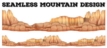 Seamless mountain in canyon illustration