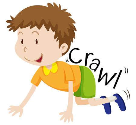 yellow shirt: Little boy in yellow shirt crawling illustration