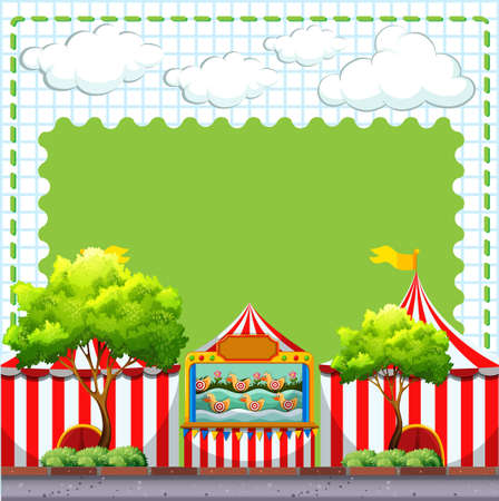 amusement park rides: Border design with game at circus illustration