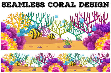 carnivorous fish: Seamless coral reef and fish underwater illustration Illustration
