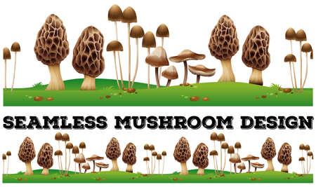 ground: Seamless fresh mushroom on the ground illustration