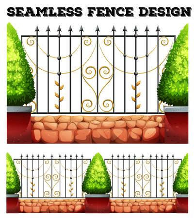 bushes: Seamless metal fence design with bushes illustration