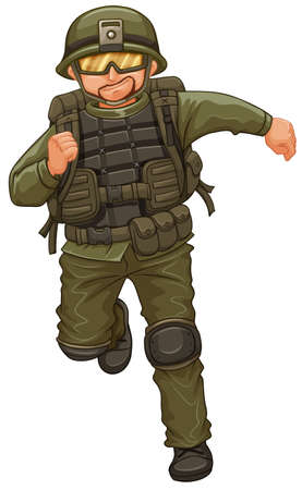 man illustration: Man in military suit running illustration