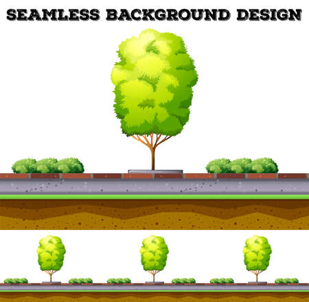 Seamless background with tree on the road illustration