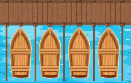 trompo de madera: Cuatro barcos de aparcamiento en el muelle de la ilustración Vectores