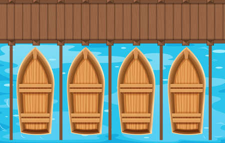 sea view: Four boats parking at the pier illustration