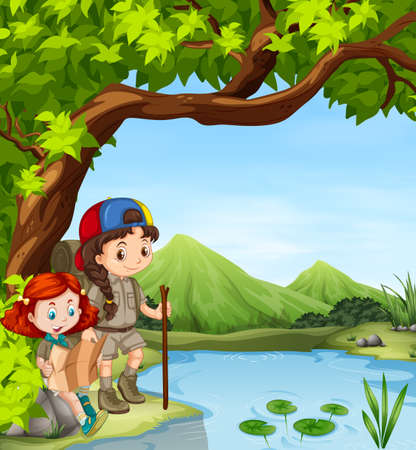 hiking: Girls hiking by the river illustration