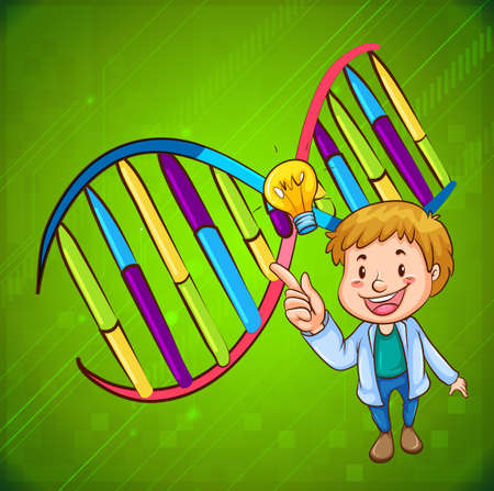 dna smile: Man and DNA diagram illustration