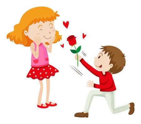 to adore: Man giving rose to his girlfriend illustration Illustration