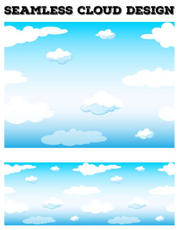 fluffy clouds: Seamless blue sky with fluffy clouds illustration
