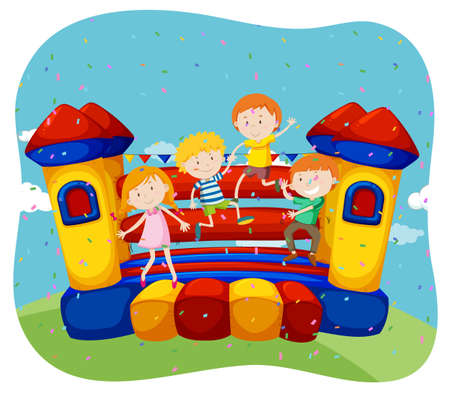 bouncing: Children jumping on the bouncing house illustration
