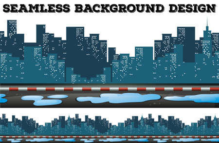 Seamless design with buildings along the sidewalk illustration