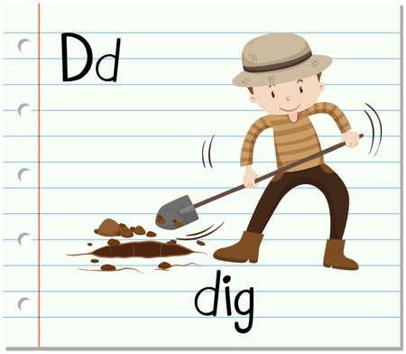 peron: Flashcard letter D is for dig illustration