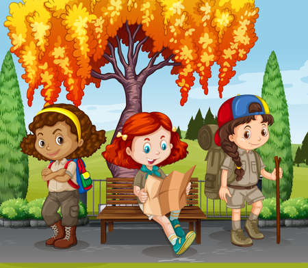 children drawing: Girls camping in the park illustration Illustration