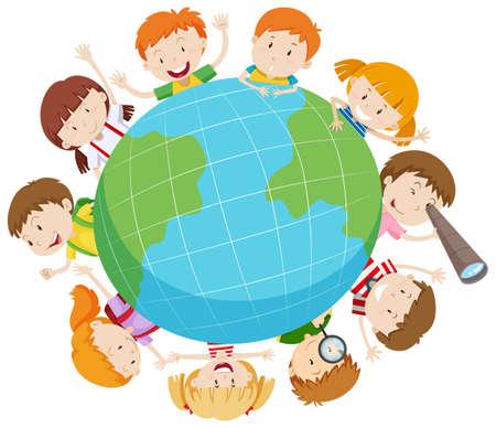 illustrated globe: Boys and girls around the world illustration