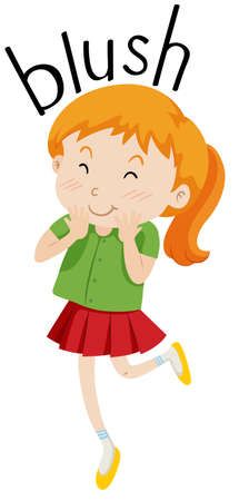 blushing: Little girl with pigtail blushing illustration