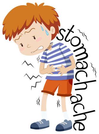 illness: Sick boy having stomachache illustration Illustration