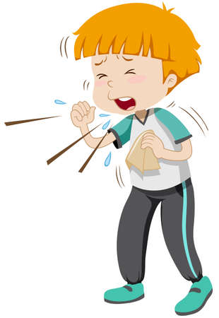インフルエンザのイラストを持つ少年  イラスト・ベクター素材