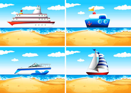 ocean liner: Four types of ships on the sea illustration