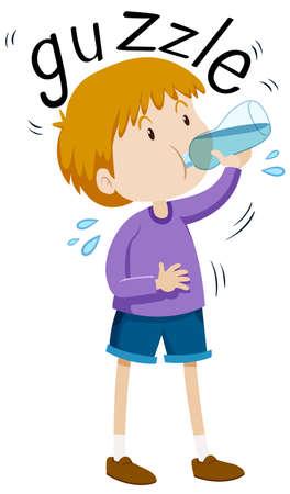 cute clipart: Little boy gazzle from water bottle illustration Illustration