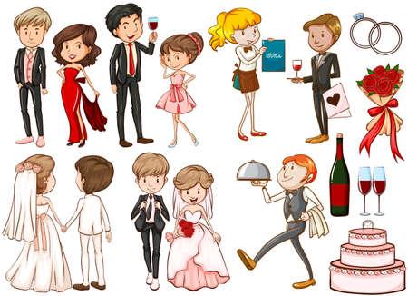 Mannen en vrouwen op het feest illustratie