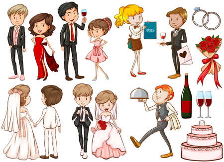 woman drinking wine: Men and women at the party illustration Illustration