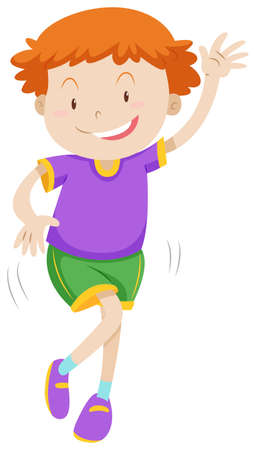 children at play: Little boy dancing alone illustration