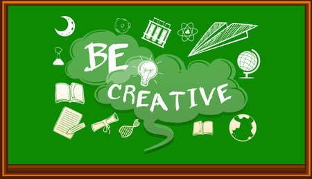 be: Wording on blackboard saying be creative illustration