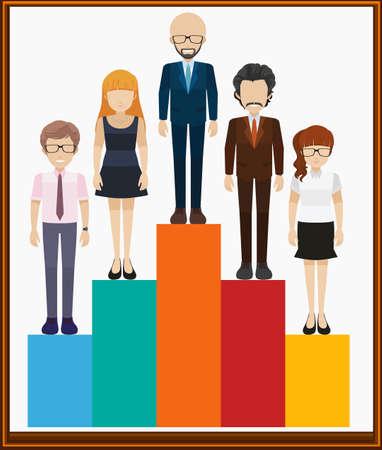 grown up: Man and woman on bar chart illustration Illustration
