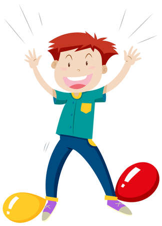 popping: Little boy playing balloon popping illustration