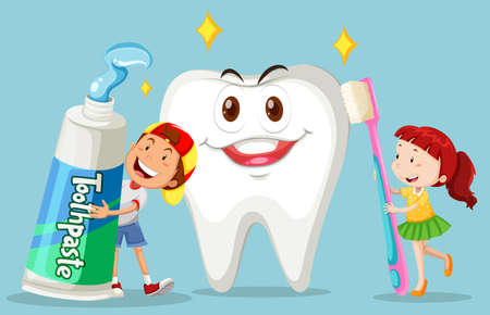 Boy and girl with clean tooth illustration