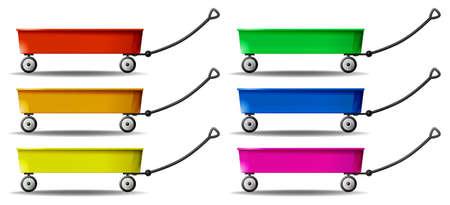 pull toy: Wagon en seis colores ilustración