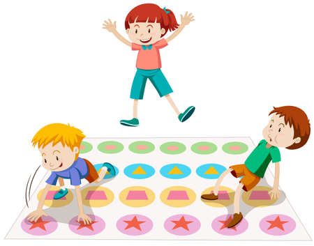 twister: Children playing twister together illustration Illustration