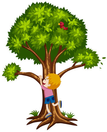 Little boy climbing up the tree illustration Illustration