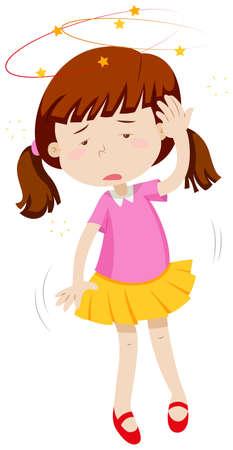 Little girl feeling dizzy illustration Vectores
