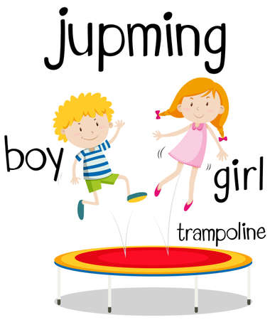 Boy and girl jumping on trampoline illustration