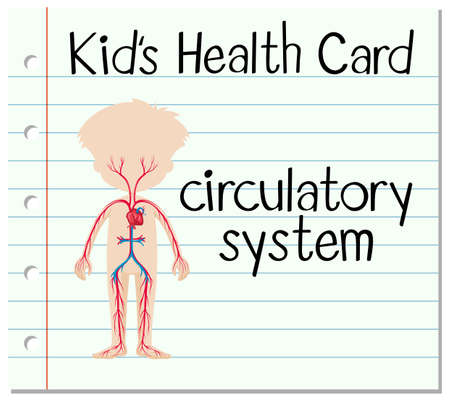 arts system: Kid health card with circulatory system illustration