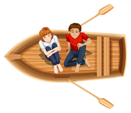 people looking up: Man and woman sitting on the boat illustration