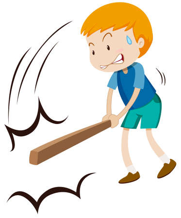 wooden stick: Little boy hitting something with wooden stick illustration Illustration
