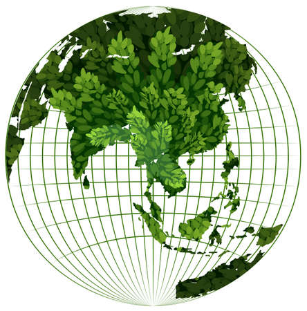 greenhouse effect: Environmental theme with plant on earth illustration