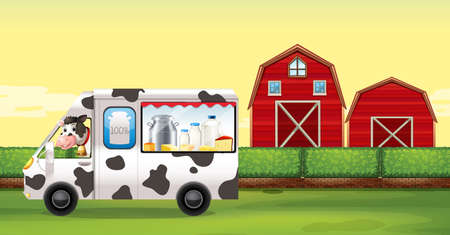 fresh milk: Cow driving milk truck on the farm illustration