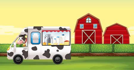 latte fresco: Mucca guida camion del latte in fattoria illustrazione