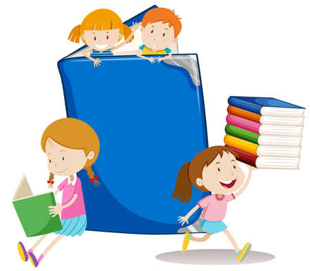 big girls: Boys and girls with big book illustration