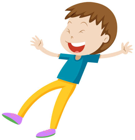 blue shirt: Little boy in blue shirt laughing illustration