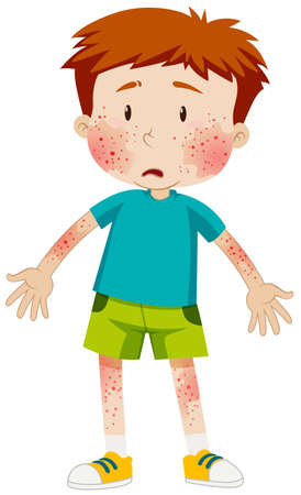 infectious disease: Sad boy with infectious disease illustration