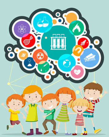 science symbols: Boys and girls with science symbols illustration