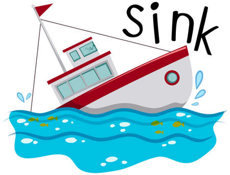 Fishing boat sinking down the ocean illustration