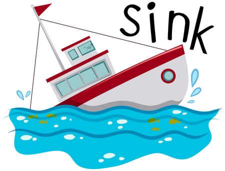 Fishing boat sinking down the ocean illustration