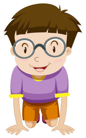 kneeling: Boy with glasses kneeling down illustration