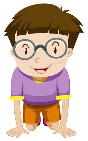 Boy with glasses kneeling down illustration